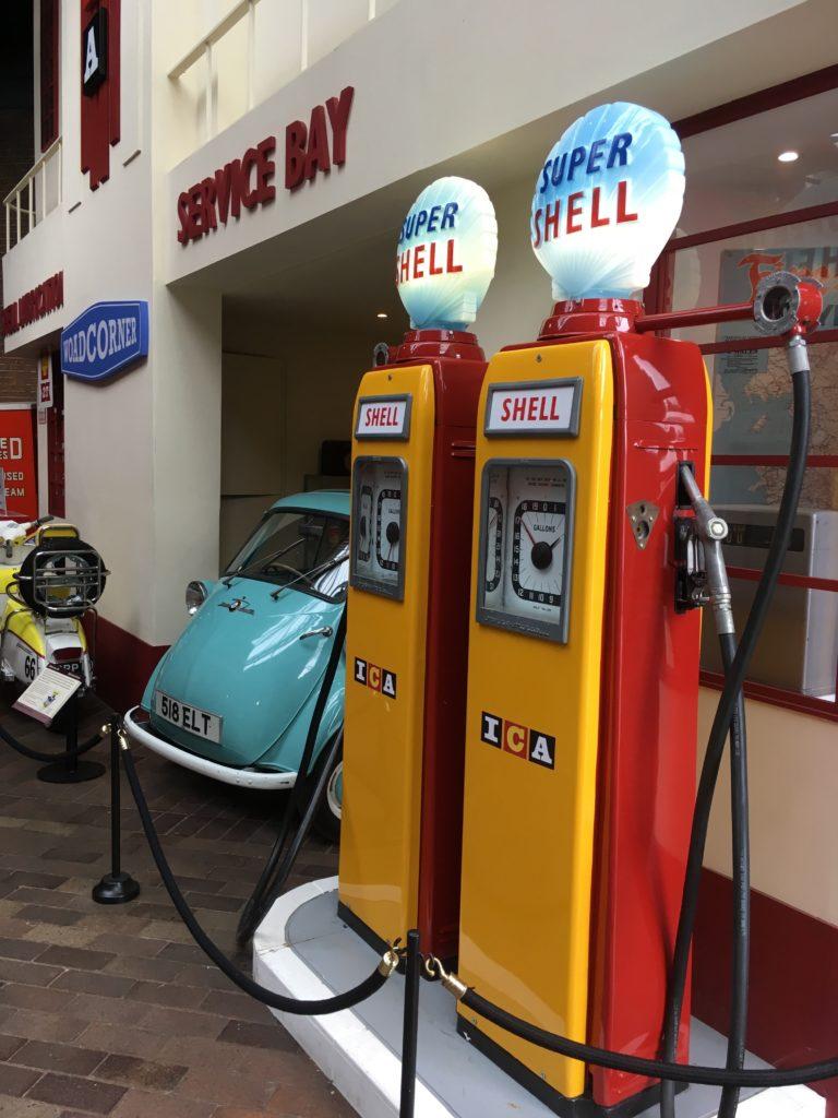 Historic petrol pumps at the National Motor Museum